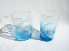 Set of Surfing Ryukyu Glass Mug & Beer Glass (Handmade in Okinawa, Japan)