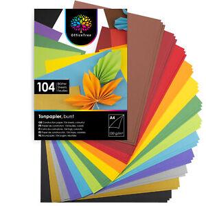 OfficeTree 104x Blatt Bastelpapier bunt- Tonpapier Papier Bastel Karton Basteln
