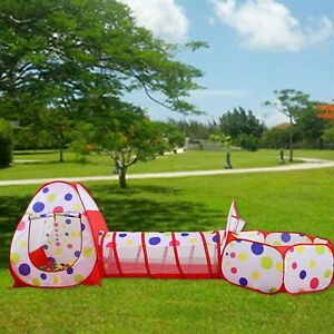3 in1 Portable Kids Indoor Outdoor Children Play Tent Ball Pool Crawl Tunnel Set