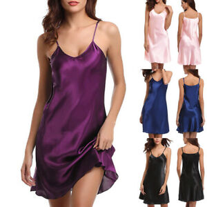 Women Silky Satin Chemise Nightdress Babydoll Lingerie Sexy Strappy Nightwear