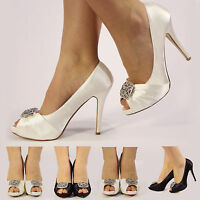 NEW WOMENS LADIES SATIN WEDDING PROM BRIDAL EVENING HIGH HEEL GEM SHOES SIZE 3-8