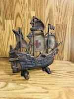 Vintage Cast Iron Sailing Pirate Ship Door Stop Antique Vintage Collectible