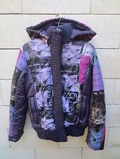 Veste Doudoune DESIGUAL à capuche amovible violet taille 40 jacket chaqueta