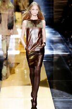 GUCCI Runway Leather Fur Dress Size 38
