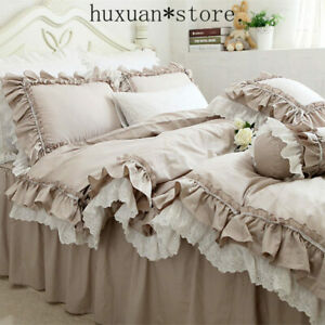 European Khaki Bedding Set Double Ruffle Lace Duvet Cover Elegant Bedspread Hot
