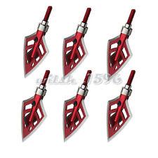 6pcs Broadheads 125/100 Grain Red Hunting Arrow Heads Archery Shooting 4 Blade