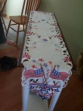 Beautiful Embroidered 4th Of July American Flag Table Runner 68x13 Patriotic