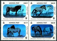 Mongolia 2000 MNH 4v Blk, WWF, Przewalski's Horses 3-D Hologram, Odd