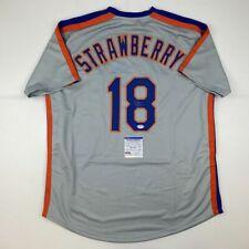 Autographed/Signed DARRYL STRAWBERRY New York Grey Baseball Jersey PSA/DNA COA