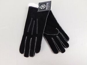 Isotoner Suede Moccasin Stitch MicroLuxe Lined Winter Gloves Black - Large #6110