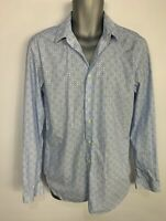 MENS BEN SHERMAN BLUE BUTTON UP LONG SLEEVE TAILORED SKINNY FIT FORMAL SHIRT 16""