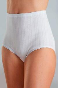 Women's Vedonis White Maxi Full Briefs. 100% Cotton Stretch Rib. 2 PAIR PACK.