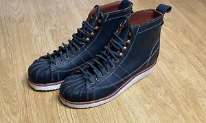 Adidas Originals Mens Superstar Leather Iconic Boots Black UK Size 10.5 New