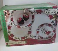 Christmas Gift Set Fine China POINSETTIA HOLIDAY 20 Pc GIBSON  Dinnerware Set