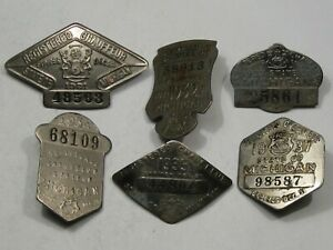 6 Piece Chauffeur Pin Collection - Michigan: 1921, 32, 33, 34, 35, 37.  #11