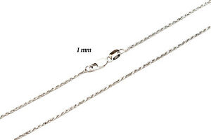 """14k Solid Rose White Yellow Gold Rope 1mm Chain Necklace Size 16""""-30"""""""
