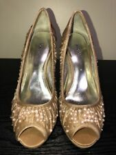 Style & Co. Tan/Brown Beaded Peep Toe Stiletto Heels Shoe Women's 7M