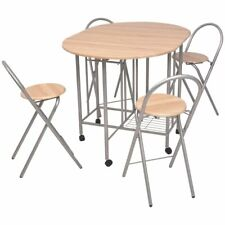 Folding Dining Set Portable Table and 4 Chairs Kitchen Patio MDF Oak/Black