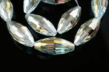 Bulk 2pcs Lt Citrine Glass Crystal Big Oval Rugby Beads 35x15mm Spacer Findings