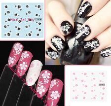 Nail Art Water Transfer Stickers-Tattoo Adesivi Unghie-Fiori Rosa-Neri-Bianchi!!