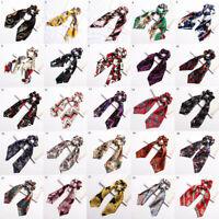 Multi-function Floral Hair Scrunchie Scarf Elastic Hair Bands Bow Hair Rope Tie