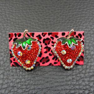 New Betsey Johnson Alloy Rhinestone Red Strawberry Stud Earrings Fashion Jewelry