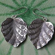 Unique Leaf Karen Hill Tribe Silver Earrings