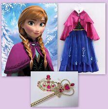 Princess ANNA Dress Gown Girls Costume w/ Tiara Wand Size 5/6 (M) Frozen Elsa