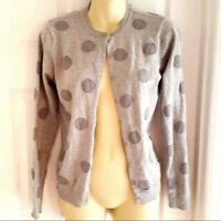 LIZ CLAIBORNE Womens sweater Size XS Lightweight Polka Dot Cardigan Crew Neck