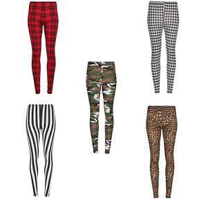 Ladies Womens Printed Stretchy Full Length Leggings Sports Casual Trouser Pants
