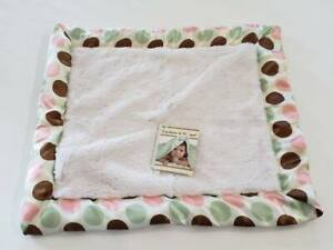 NWT Blankets & Beyond White And Brown Pink Mint Polka Dot Satin Baby Security