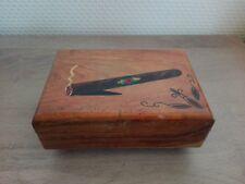 Ancienne Boîte à cigare / cigarettes en bois - Boîte Musicale SANKYO