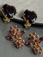 Vintage Estate 1950's Purple Crystal Faceted Style Clip Gold Tone Earring Lot
