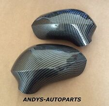 SEAT LEON 09-12 WING MIRROR COVER PAIR L/H & R/H IN CARBON FIBRE STYLE