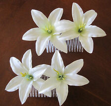 "Two Cream White 3.5"" Lily Silk Flower Hair Comb Lot,Pin Up,Updo,Bridal"