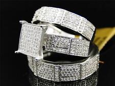 10K Mens/Ladies White Gold Diamond Engagement Wedding Ring Trio Set 1.20ct