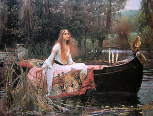 Dream-art Oil painting J. W. Waterhouse The lady of shalott on the boat canvas