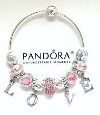 Authentic Pandora Bracelet Pink Murano Beads Love European Charms Bangle