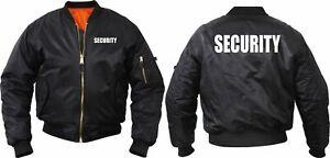 Official Security Uniform Black Jacket Officer Guard MA-1 Bomber Flight Coat