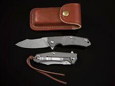 Thomas Titanium Flipper Folding Knife EDC/Hunting D2 Steel Leather Sheath
