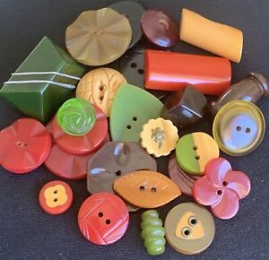 Group of 26 Vintage Bakelite Buttons, Great Colors, Shapes