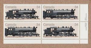 HISTORY = LOCOMOTIVES (1906-1925) = Canada 1985 #1072a LR PLATE Block of 4 MNH