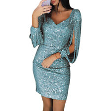 Women's Sequined Dresses Long Sleeve Tassel Bodycon Party Club Evening Dresses