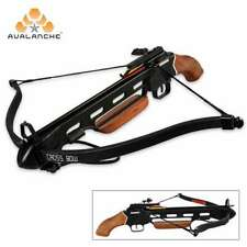 150 lb Avalanche Pistol Wood Hunting Crossbow Bow Wooden Stock w/ Arrows Bolts
