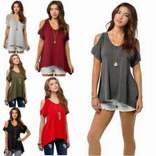 Waist Length Cotton Blend V Neck Tops & Shirts for Women