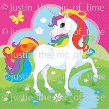 20 Unicorn Paper Napkins Childrens Birthday Party Girls Tableware Pink Pony