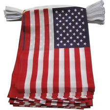 """USA Bunting 6 metres 20 flags American Stars & Stripes Small Fabric Flag 9""""x6"""""""
