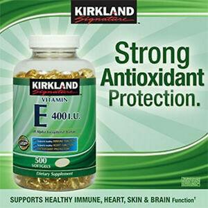 Kirkland Signature Vitamin E 400 IU, 500 Softgels, Strong Antioxidant, 11/2022