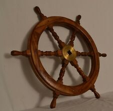 "Super CLEAN Vintage Large Nautical Ship Steering Wheel Wood Brass 28"" 10lbs"