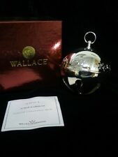 Wallace Silver Plate Sleigh Bell - 2003 French Horns & Holly Candles W/ Box